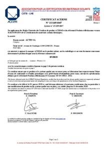 HYBRIS-Certificat ACERMI
